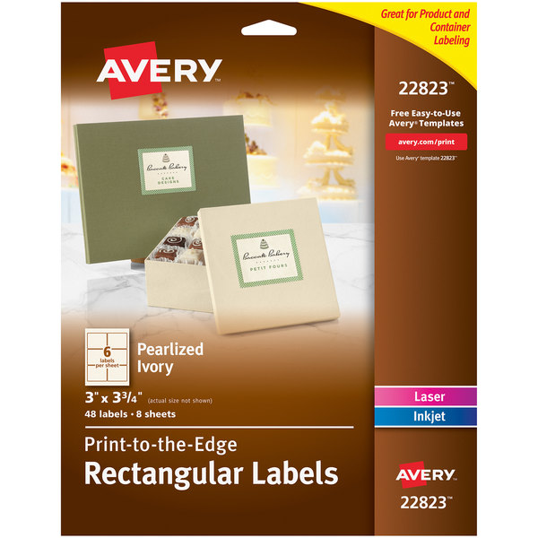"""Avery 22823 3"""" x 3 3/4"""" Pearlized Ivory Rectangular Print-to-the-Edge Labels - 48/Pack Main Image 1"""