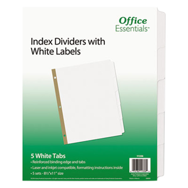Avery Office Essentials 11336 5-Tab White Index Divider Set - 5/Pack