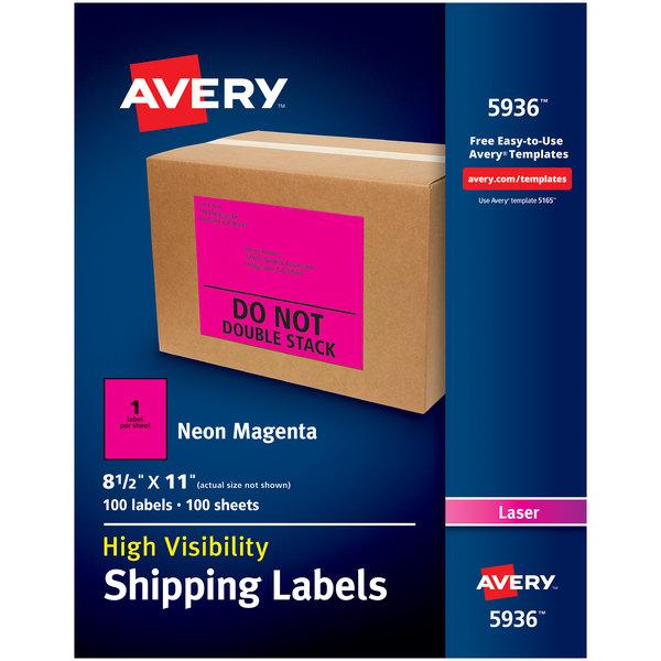 "Avery 5936 8 1/2"" x 11"" Neon Magenta Shipping Labels - 100/Box Main Image 1"