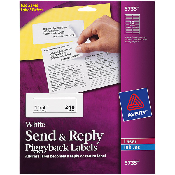 Avery 5735 White Send & Reply Piggyback Labels - 240/Pack Main Image 1