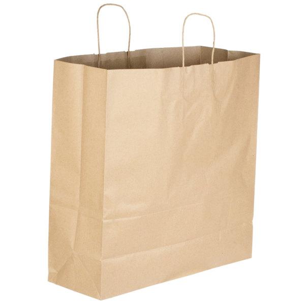 Jumbo 18 inch x 7 inch x 18 1/2 inch Natural Kraft Shopping Bag with Handles - 200/Bundle
