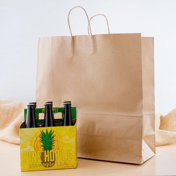 "Jumbo 18"" x 7"" x 18 1/2"" Natural Kraft Shopping Bag with Handles - 200/Bundle Main Image 3"