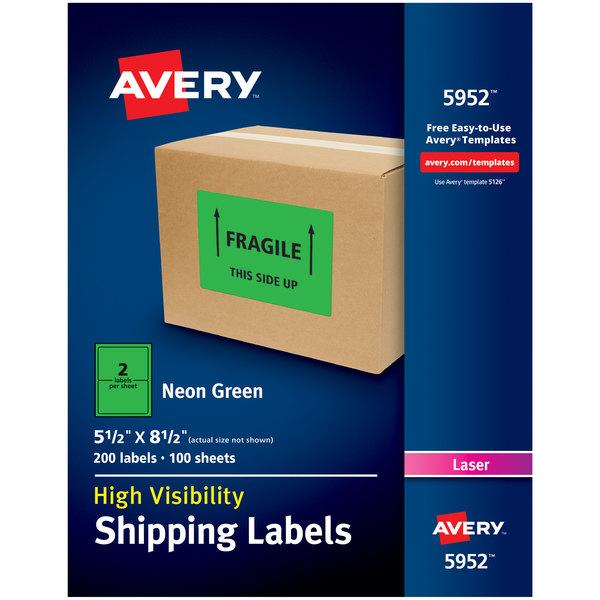 "Avery 5952 5 1/2"" x 8 1/2"" Neon Green Shipping Labels - 200/Box Main Image 1"