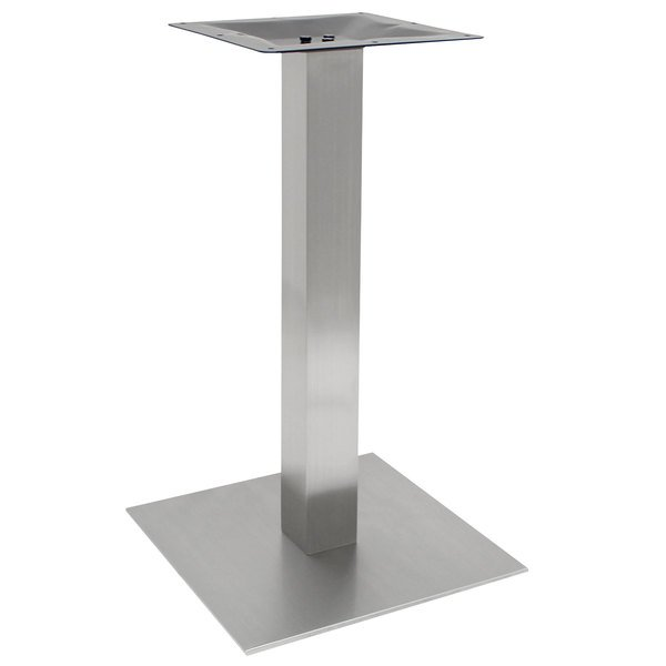 """Art Marble Furniture SS05-23H 23"""" Square Brushed Stainless Steel Bar Height Table Base Main Image 1"""