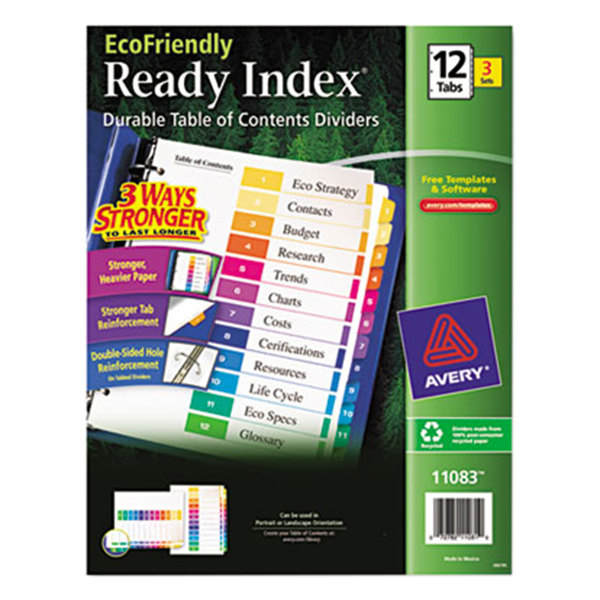 Avery 11083 ecofriendly ready index 12 tab multi color for Avery ready index template 12 tab