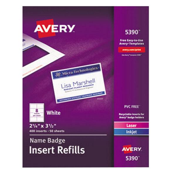 """Avery 5390 2 1/4"""" x 3 1/2"""" White Badge Holder Laser / Inkjet Insert Refills - 400/Box"""