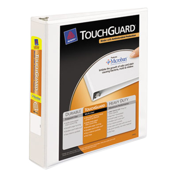 """Avery 17142 White TouchGuard Antimicrobial View Binder with 1 1/2"""" Slant Rings Main Image 1"""