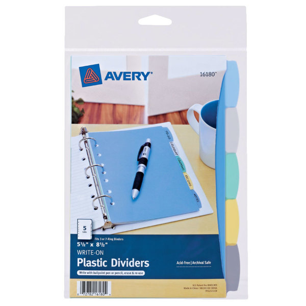 """Avery 16180 5 1/2"""" x 8 1/2"""" 5-Tab Multi-Color Write-On Plastic Dividers Main Image 1"""