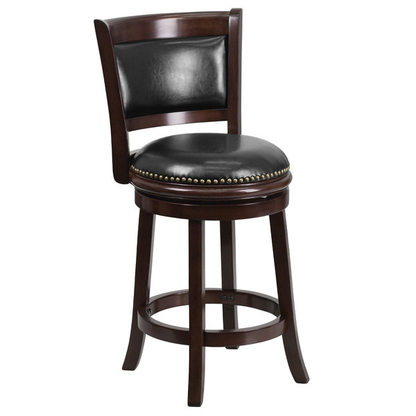 Flash Furniture TA-61024-CA-CTR-GG Cappuccino Wood Counter Height Panel Back Stool with Black Leather Swivel Seat