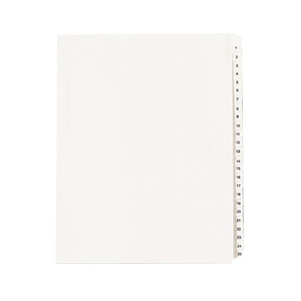 "Avery 1701 8 1/2"" x 11"" Allstate-Style Collated 1-25 Tab Legal Exhibit Dividers"