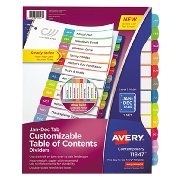 Avery 11847 12-Tab Jan.-Dec. Multi-Color Customizable Table of Contents Dividers Main Image 1