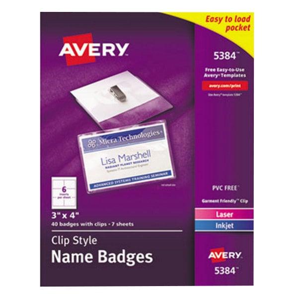 "Avery 5384 3"" x 4"" White Top-Loading Garment-Friendly Clip Style Badge Holder Kit with Laser / Inkjet Inserts - 40/Box Main Image 1"