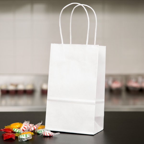 "Duro Gem White Paper Shopping Bag with Handles 5 1/4"" x 3 1/4"" x 8 3/8"" - 250/Bundle Main Image 4"