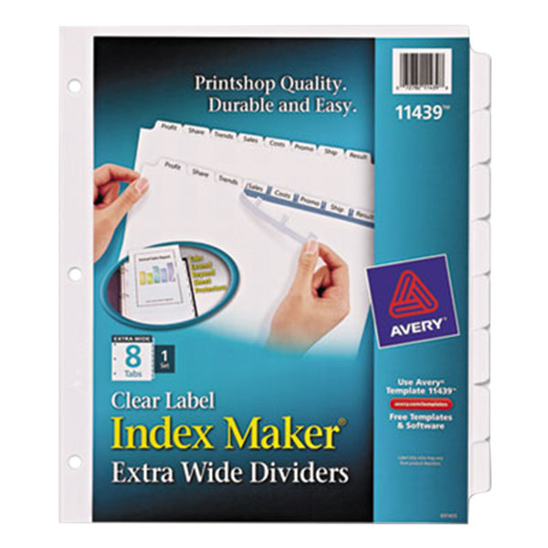 Avery 11439 Index Maker 8-Tab Extra-Wide Dividers with Clear Label Strips Main Image 1