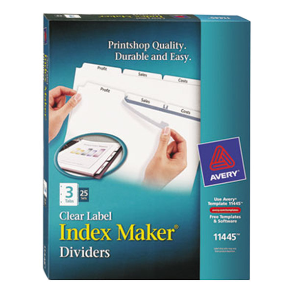 Avery 11445 Index Maker 3-Tab Divider Set with Clear Label Strip - 25/Box