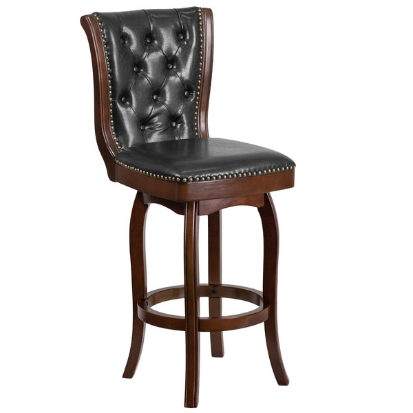 Flash Furniture TA-240130-CA-GG Cappuccino Wood Bar Height Button Tufted Back Stool with Black Leather Swivel Seat Main Image 1