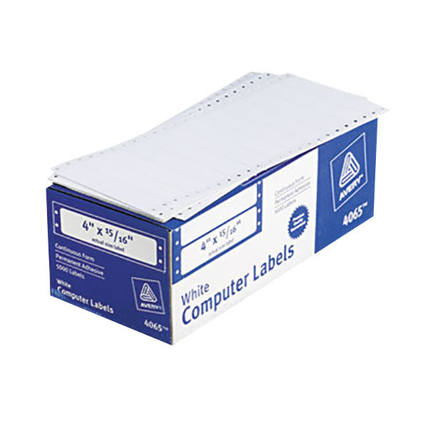 "Avery 4065 15/16"" x 4"" White Dot Matrix Mailing Labels - 5000/Case"