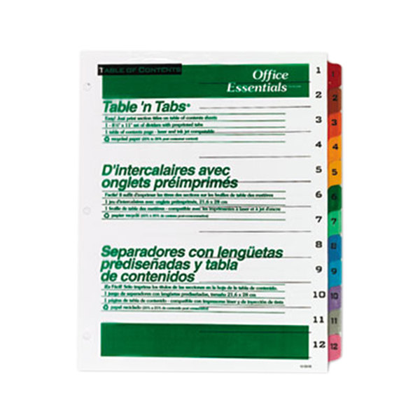 Avery Office Essentials 11673 Table 'n Tabs Multi-Color 12-Tab Dividers Main Image 1