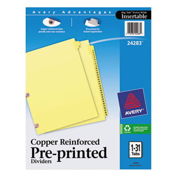 Avery 24283 Pre-Printed 31-Tab Dividers with Copper Reinforcements Main Image 1