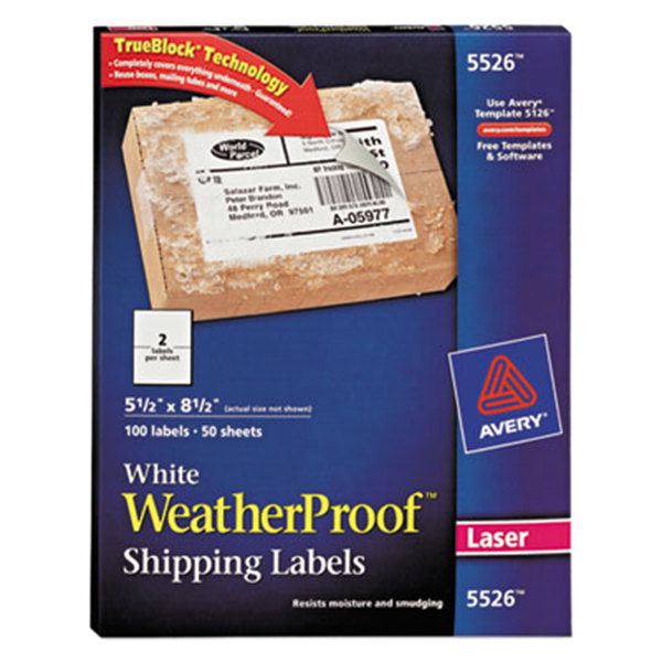 "Avery 5526 TrueBlock 5 1/2"" x 8 1/2"" Weatherproof White Shipping Labels - 100/Pack"