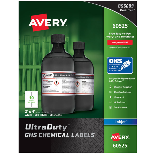 """Avery 60525 UltraDuty 2"""" x 4"""" GHS Chemical Labels for Pigment-Based Inkjet Printers - 500/Pack Main Image 1"""