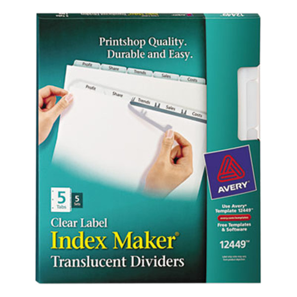 Avery 12449 Index Maker 5-Tab 3-Hole Punched Plastic Clear Label Dividers - 5/Pack Main Image 1