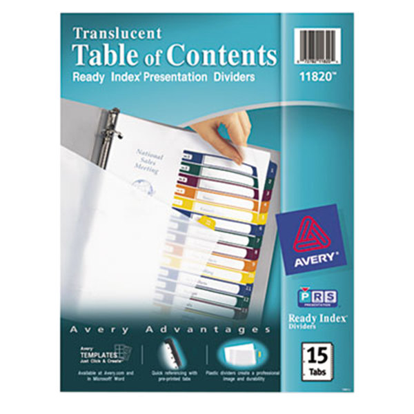 Avery 11820 Ready Index 15-Tab Multi-Color Customizable Table of Contents Dividers