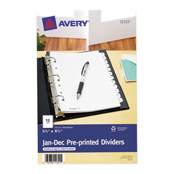Avery 11315 Mini Pre-Printed 12-Tab Jan-Dec Dividers Main Image 1