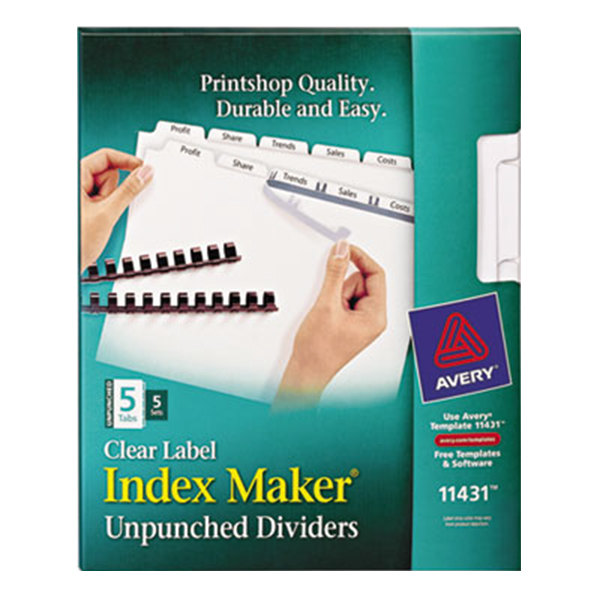 Avery 11431 Index Maker 5-Tab Unpunched Divider Set with Clear Label Strips - 5/Pack Main Image 1