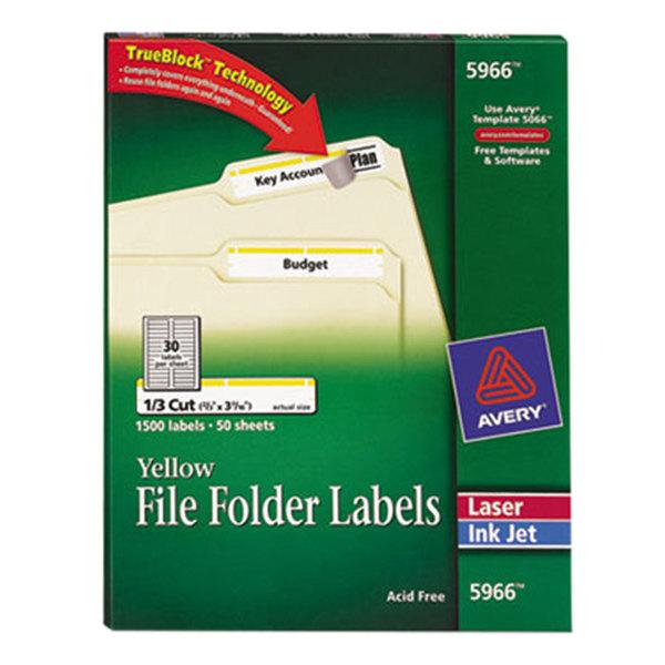 "Avery 5966 TrueBlock 2/3"" x 3 7/16"" Yellow File Folder Labels - 1500/Box"