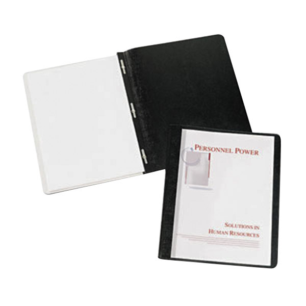 """Avery 47960 11"""" x 8 1/2"""" Black Plastic Report Cover with Clear Cover and Prong Fasteners, Letter - 25/Box Main Image 1"""