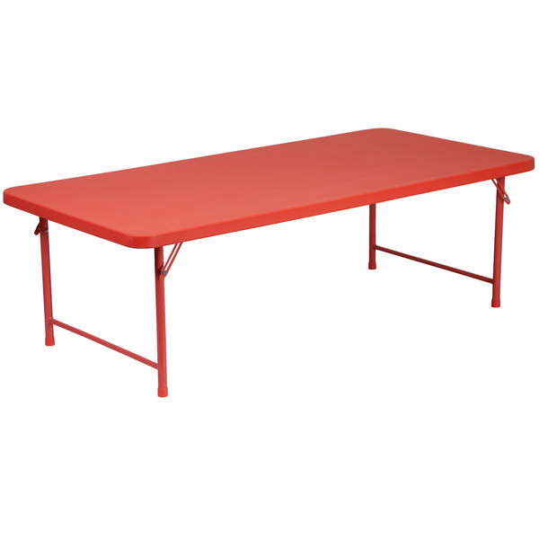 "Flash Furniture RB-3060-KID-RD-GG 30"" x 60"" Kids Red Plastic Folding Table"