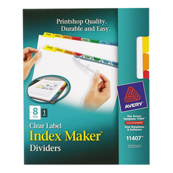 Avery 11407 Index Maker 8-Tab Multi-Color Divider Set with Clear Label Strips