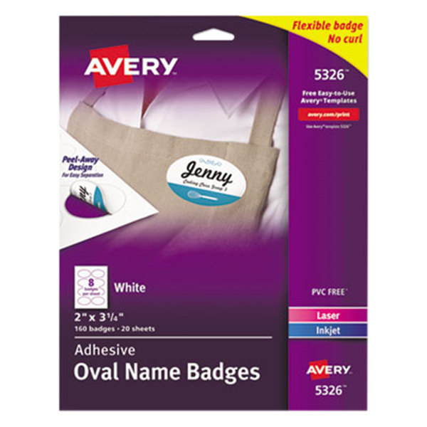 "Avery 5326 2"" x 3 1/3"" White Adhesive Oval Name Badges - 160/Pack Main Image 1"