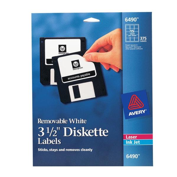 "Avery 6490 3 1/2"" White Diskette Labels - 375/Pack"