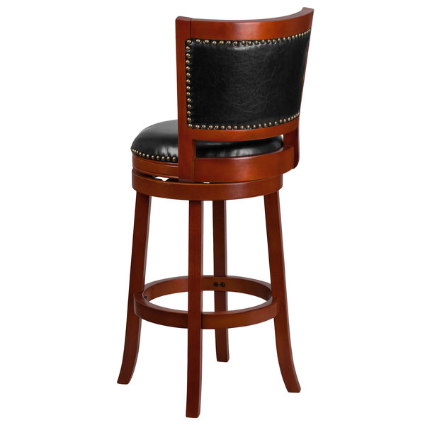 Flash Furniture Ta 355530 Lc Gg Light Cherry Wood Bar Height Panel Back Stool With Black Leather Swivel Seat