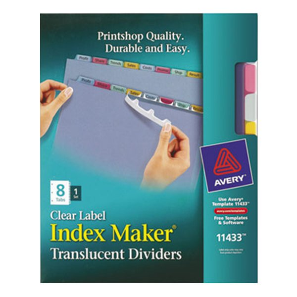 Avery 11433 Index Maker 8-Tab Multi-Color Translucent Plastic Divider Set with Clear Label Strip