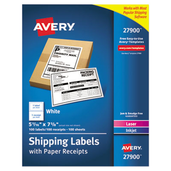 "Avery 27900 5 1/16"" x 7 5/8"" White Rectangular Shipping Labels with Paper Receipts - 100/Box"