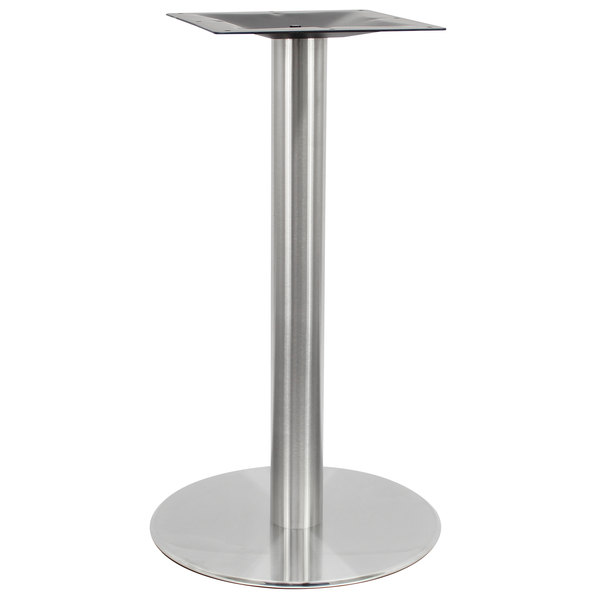 """Art Marble Furniture SS14-28D 28"""" Round Polished Stainless Steel Standard Height Table Base Main Image 1"""