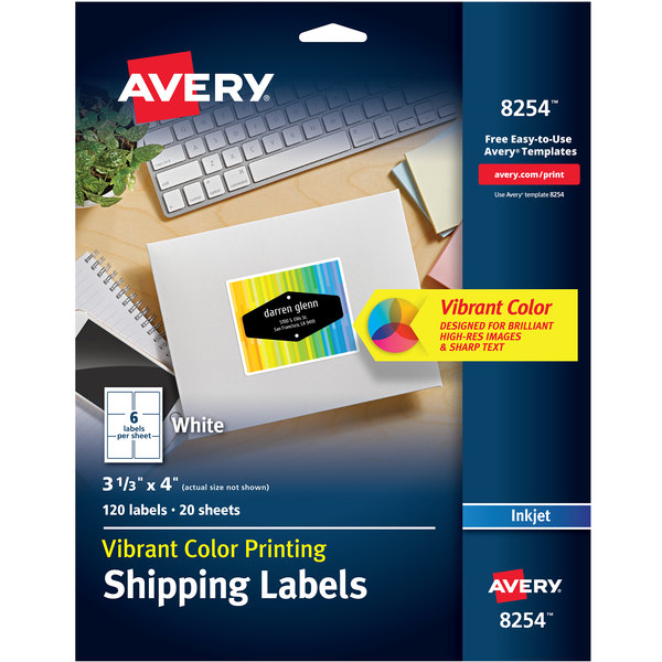 """Avery 8254 3 1/3"""" x 4"""" Matte White Ink Jet Color-Printing Shipping Label - 120/Pack Main Image 1"""