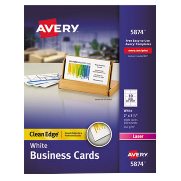 "Avery 5874 2"" x 3 1/2"" Uncoated White Clean Edge Business Cards - 1000/Pack Main Image 1"