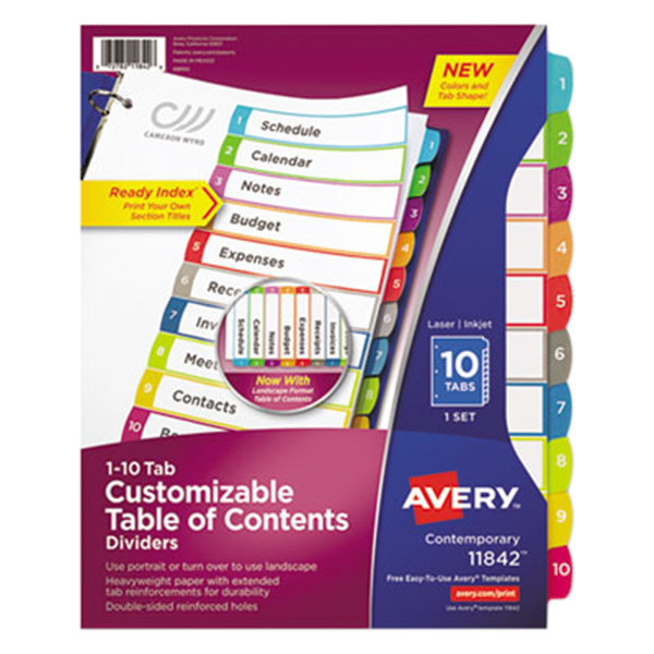 Avery 11842 Ready Index 10-Tab Multi-Color Customizable Table of Contents Dividers Main Image 1
