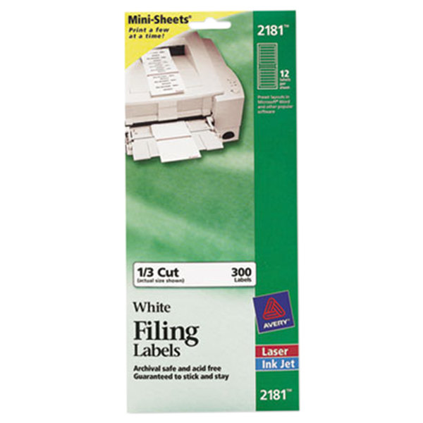 "Avery 2181 Mini-Sheets 2/3"" x 3 7/16"" White 1/3 Cut File Folder Labels - 300/Pack Main Image 1"