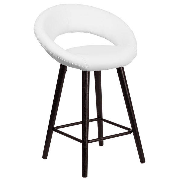 Flash Furniture CH-152551-WH-VY-GG Kelsey Series Cappuccino Wood Counter Height Stool with White Vinyl Seat