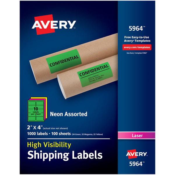 "Avery 5964 2"" x 4"" Assorted Neon Shipping Labels - 1000/Box Main Image 1"