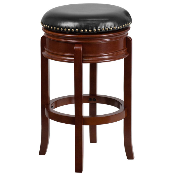 Flash Furniture TA 68829 LC GG Light Cherry Wood Bar Height Stool With  Black Leather Swivel Seat
