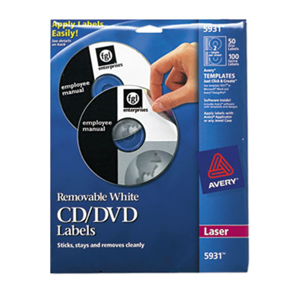 Avery 5931 Matte White CD / DVD Labels - 50/Pack Main Image 1