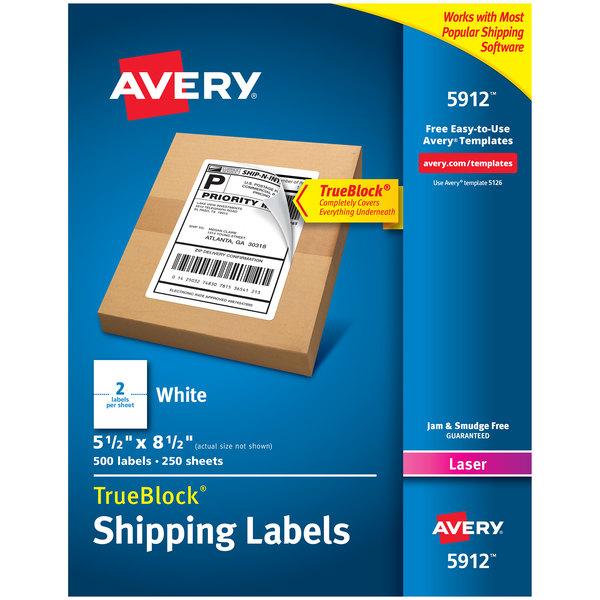 "Avery 5912 TrueBlock 5 1/2"" x 8 1/2"" White Shipping Labels - 500/Box Main Image 1"
