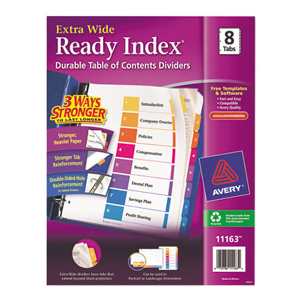 Avery 11163 Ready Index Extra Wide 8-Tab Multi-Color Table of Contents Dividers