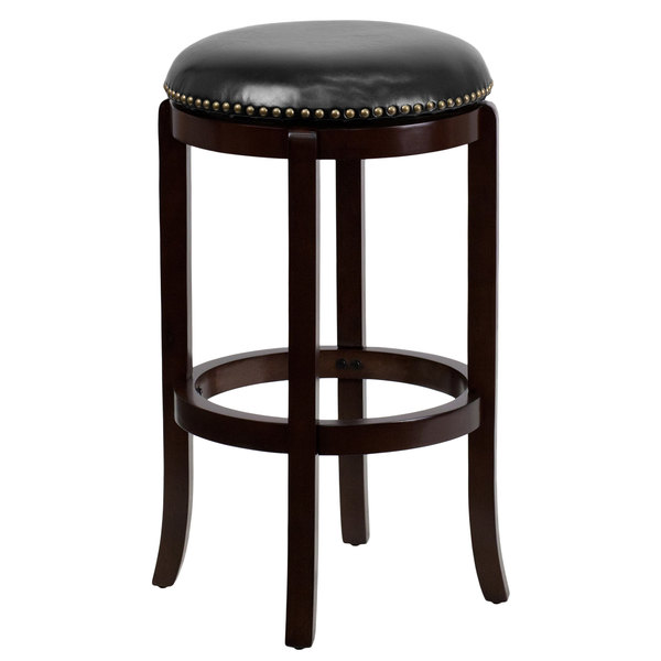 Flash Furniture TA-68929-CA-GG Cappuccino Wood Bar Height Stool with Black Leather Swivel Seat  sc 1 st  Webstaurant Store & Furniture TA-68929-CA-GG Cappuccino Wood Bar Height Stool with ... islam-shia.org